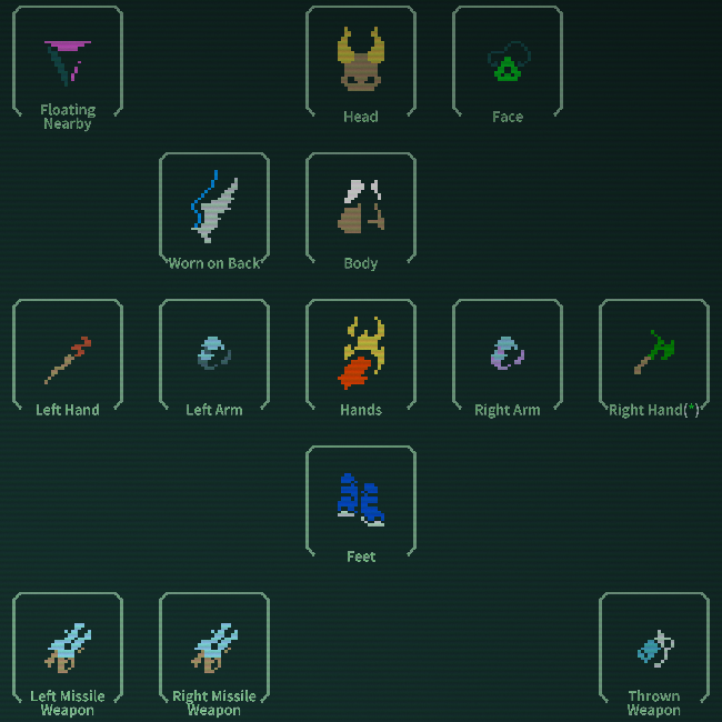 The Caves of Qud equipment screen showcases a player's items.