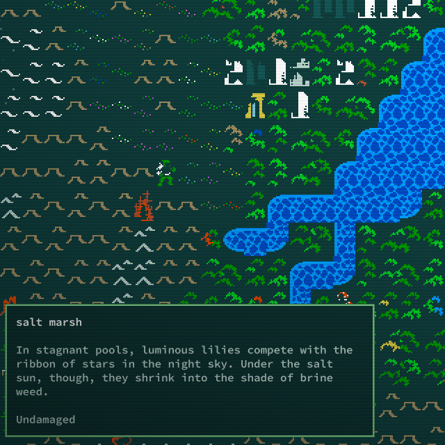 A player walks on the Caves of Qud world map and inspects a salt marsh tile.